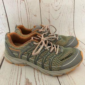 Merrell Womens Sz 7 Wild Dove Green & Orange Shoes